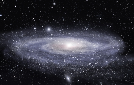 Detailed picture of the distant spiral galaxy 版權商用圖片