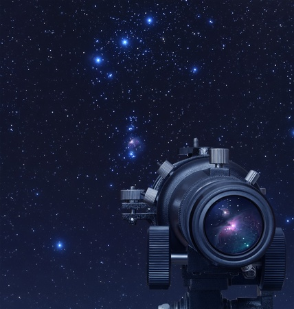 A picture of telescope pointed at Orion nebula