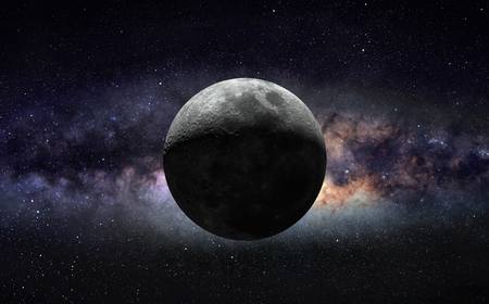 Moon and galaxy