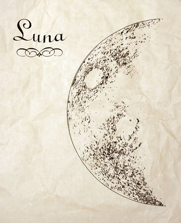Antique sketch of half Moon drawn on the old parchment