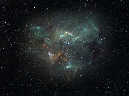 Nebula with intricate shape looming deep in space