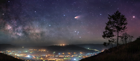 Starry night sky panorama Banque d'images