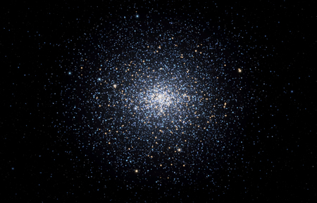 Bright globular stellar cluster shining deep in space