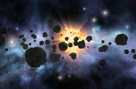 cinturón de asteroides con la estrella brillante y nebulosas en el fondo Foto de archivo