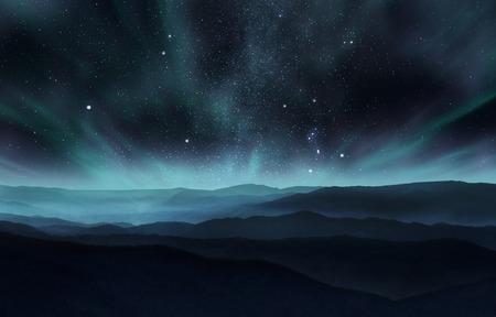 cielo nocturno estrellado con la aurora sobre las colinas