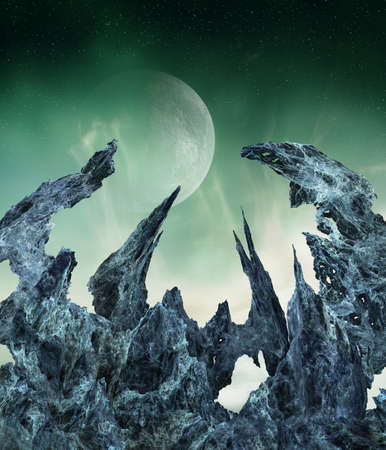 Extraterrestrial landscape with crystal-like terrain formations and enormous moon in the sky