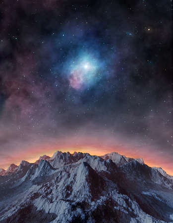 Surface of distant exoplanet against nebula and stars Stock fotó