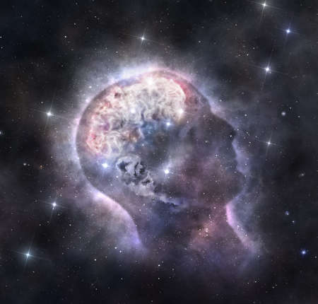 Abstract image of deep space nebula with a shape of human head and brain