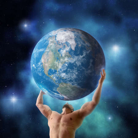 Mythical titan Atlas holding up the planet Earth Stock Photo