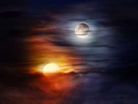 Sun and moon on a cloudy sky forming Yin Yang balance symbol Stock fotó