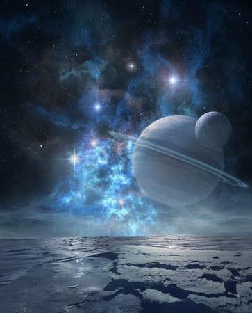 paisaje extraterrestre del lejano planeta helado con majestuosa y nebulosa gigante de gas anillado en su cielo Foto de archivo