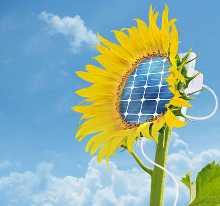 Illustration of a sunflower with an integrated solar panel - ecology and energy saving concept