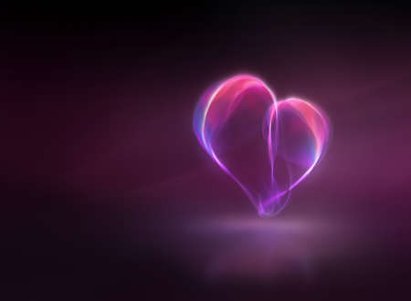 Digitally generated image of glowing heart over pink background with copyspace