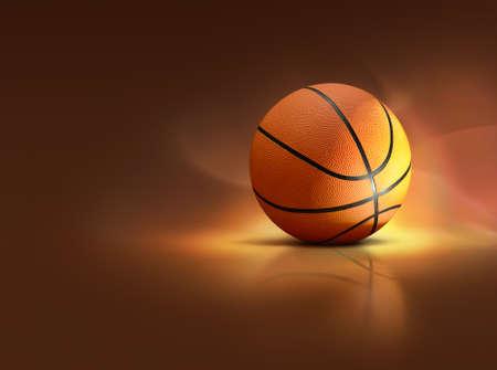 Illustration of illuminated basketball on specular surface