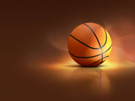 Illustration of illuminated basketball on specular surface