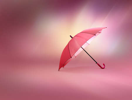 Pink umbrella against colorful background
