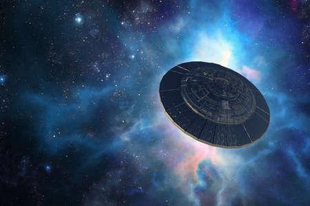 3d illustration of an alien spaceship against cosmic nebulae