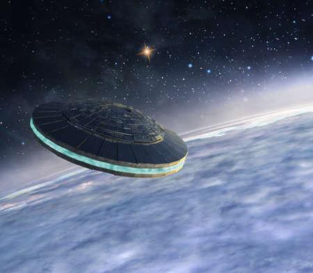 3d illustration of alien spacecraft orbiting the planet
