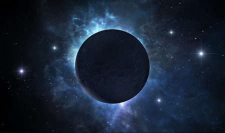 A picture of dark deserted planet located somewhere in deep space Stock fotó