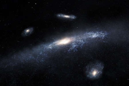 3d illustration of distant spiral galaxies located somewhere in space