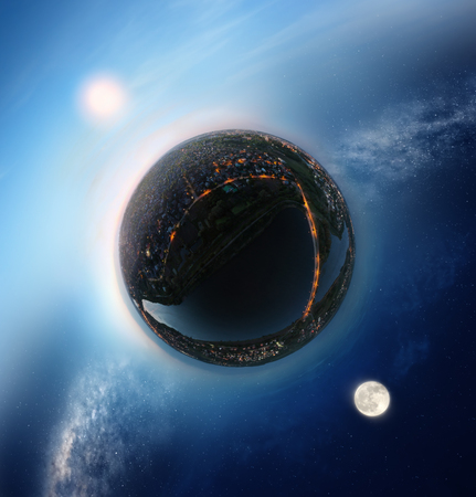 Tiny planet with sunny sky on one side and night sky on the other - conceptual image for time, opposition etc.