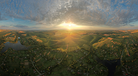 Aerial panorama of the picturesque countryside in evening