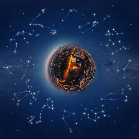 Illustration of the little planet surrounded by the stars and constellations of the Zodiac