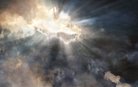 Illustration of bright sunrays struggling through the storm clouds - conceptual image for religion, faith, hope etc. Banque d'images