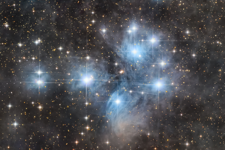 Astronomical image of the Pleiades open star cluster