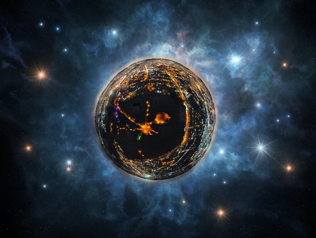 Abstract image of little planet with night city - conceptual image for industries, urban life, real estate, etc.