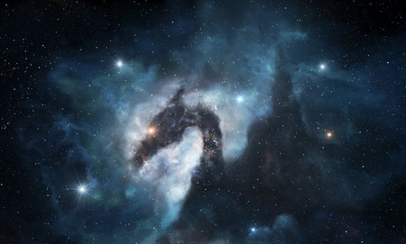 Illustration of the dark cosmic nebula with a dragon shape Banque d'images