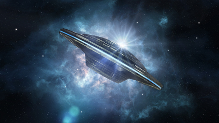 A picture of alien spacecraft against the nebula Banque d'images