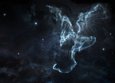 A picture of dragon-shaped nebula on the starry sky