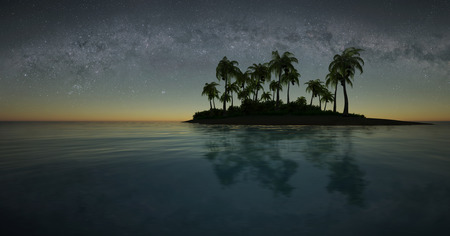 3d illustration of a small tropical island against the starry sky