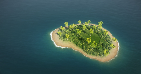 3d illustration of secluded tropical island in the sea
