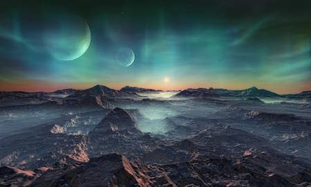 3d illustration of a distant and deserted planet covered with craters