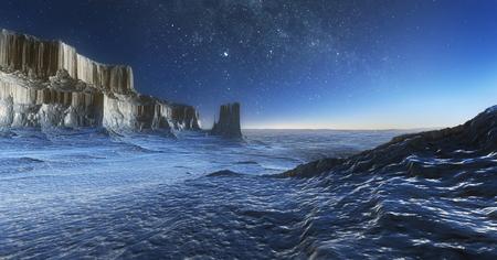 3d illustraiton of the frozen arctic landscape at night