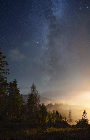 A picture of the Milky Way over the mountain woods Banque d'images