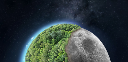 Abstract image of the Moon half covered with greenery - conceptual image for space colonization, environmental issues etc.