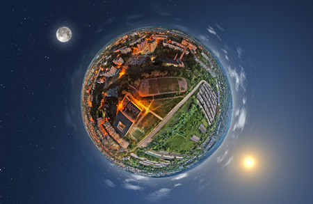 Conceptual picture of day and night on planet Earth Banque d'images