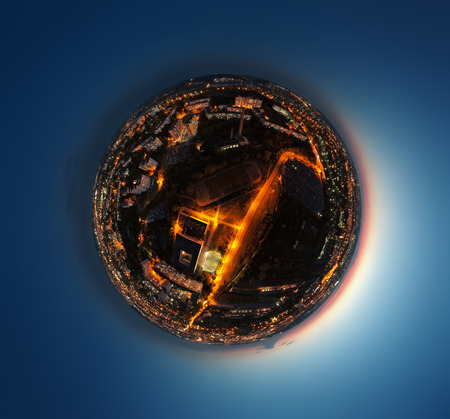 Little planet Earth made of the night city panorama