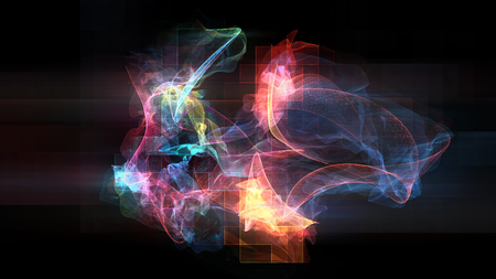 Abstract illustration of various shapes and streaks made of light