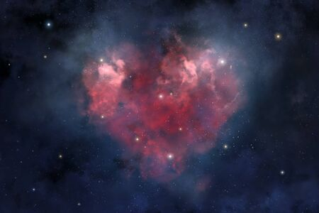 An illustration of heart-shaped cosmic nebula Banque d'images