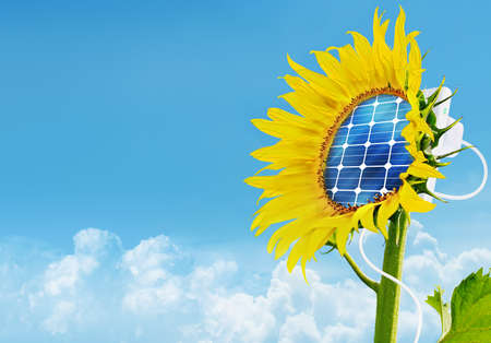 Illustration of the sunflower with solar panel attached to it - conceptual image for renewable energy, environmental conservation etc.