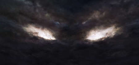 Illustration of the dark storm clouds with a shape of devil's eyes
