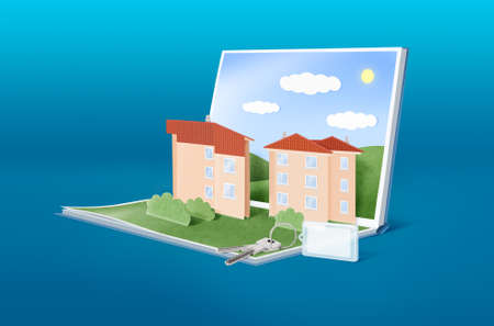 Illustration of pop-up book with cartoon townhouses and keys - conceptual image for real estate, home rental, architecture, construction etc.