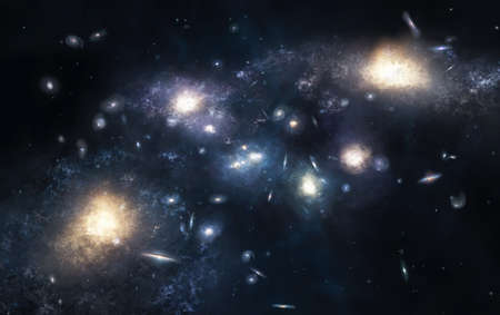 Illustration of the huge cluster of galaxies