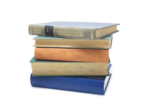 multi colored: Stack of multi colored books isolated on white.