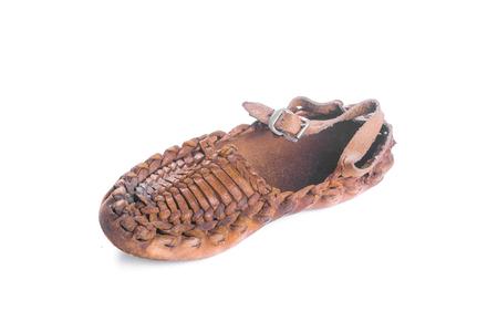 campesinas: Peasant shoe isolated on white background.