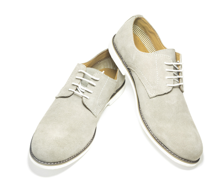 Elegant men grey shoes isolated on white background.